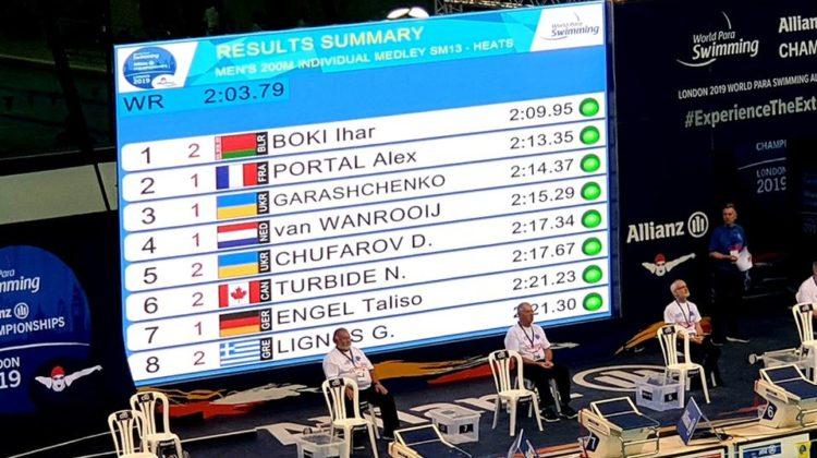 Chps du Monde Handisport : Alex 2e temps des séries du 200m 4n