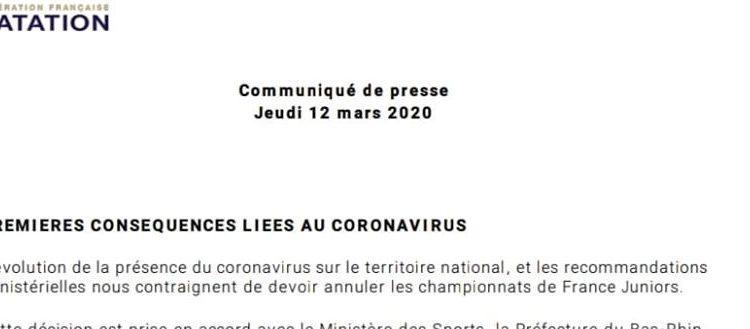 Annulation des championnats de France Juniors